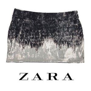 ZARA Evening Collection Ombré Sequin Mini Skirt